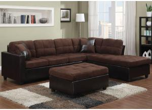 Mallory Chocolate Sectional - Comes with FREE Ottoman